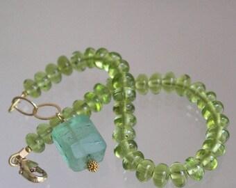 Green Peridot Bracelet, Glossy Lime Gemstone, Layering Bracelet, Sea Green Fluorite Dangle, Original Design, Signature