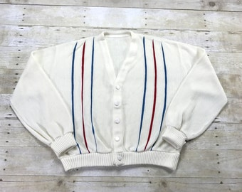 Vintage 1960s 60s Red / White / Blue Striped Cardigan Sweater Menswear Mens Size XS