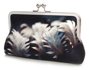 Silver leaves clutch bag, silk purse, leaf print bag, indigo, blue grey, woodland wedding