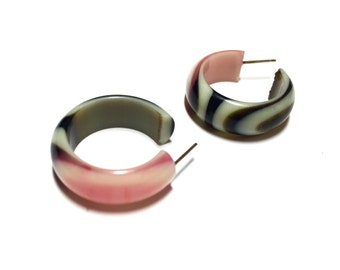 Marbled Hoop Earrings | Pink and Black Vintage Lucite Hoops | lucite Small Simple hoop earrings