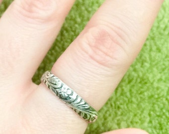 Floral pattern sterling silver band ring stacking ring or simple band