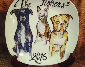 "Large Custom Porcelain Hand Painted Dog Plate 10"" for Birthday Special Occasion Wedding or Engagement Gift"