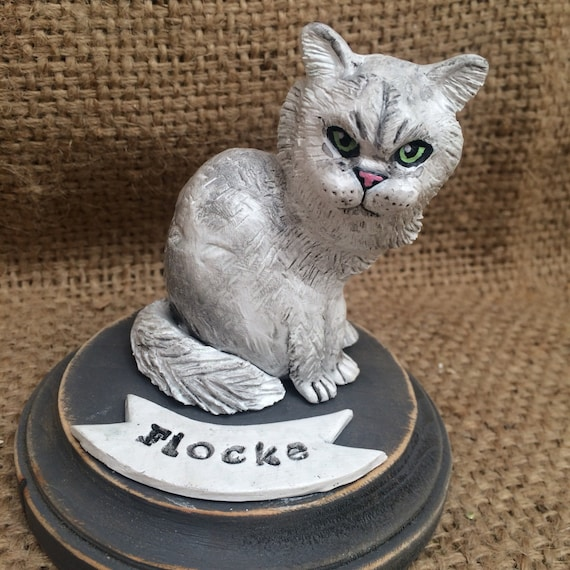 Customize your Pet Cat Kitten clay folk art sculpture likeness portrait or memorial