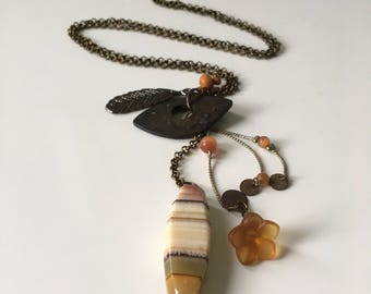 Handmade Brass & Orange Charm Necklace