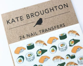 sushi nail transfers - illustrated nail art stickers - sushi nail decals - kawaii , japanese food , nail accessories