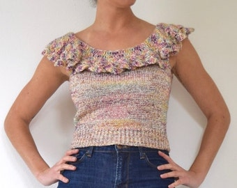 FLASH SALE / 20% off Vintage 70s 80s Metallic Knit Cropped Blouse with Ruffled Neckline (size xs, small)