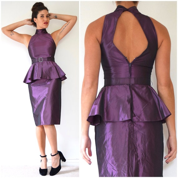 SPRING SALE/ 20% off Vintage 80s Iridescent Mauve Taffeta Cocktail Dress with Cut Out Back and Peplum Waist (size xs, small)