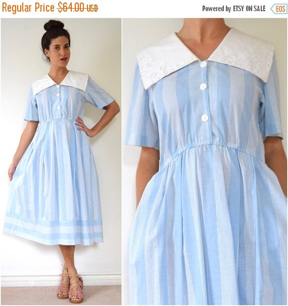 JANUARY SALE / 20% off Vintage 90s does 50s Powder Blue Striped Shirt Waist Dress with Sailor Collar (size small, medium)