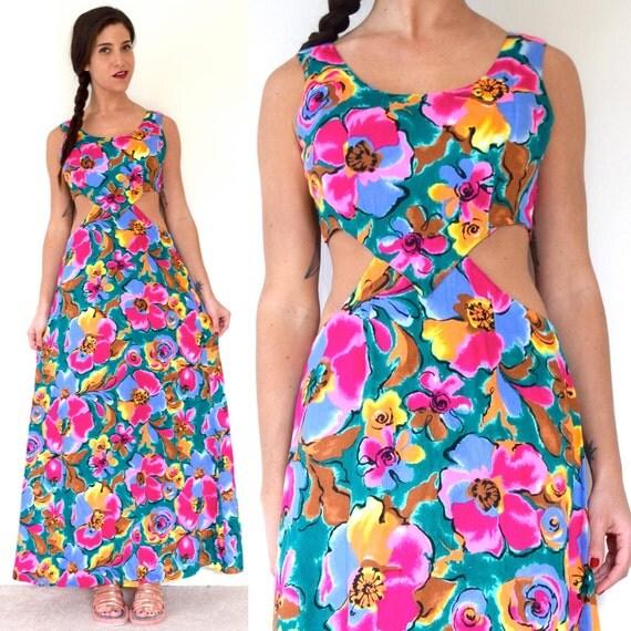 SUMMER SALE / 20% off Vintage 60s 70s Floral Cut Out Maxi Dress (size medium)