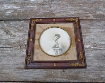 Vintage Antique 1850 /1900 Victorian French wood & beige silk fabric photo frame adorned with brass filigrees