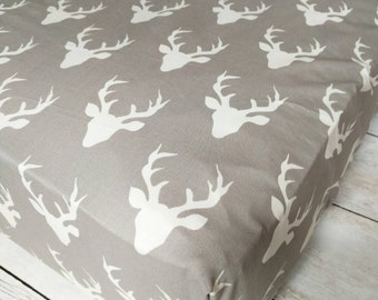 Deer Fitted Crib Sheet for Baby Boy Nursery - Woodland Fitted Crib Sheet - Beige Gray Tan Fitted Crib Sheet - Neutral Fitted Crib Sheet