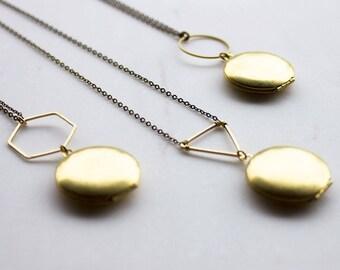 Geometric lockets, Gold modern locket, Mother's Day gift, Gold locket, Modern locket, graduation gift, graduation gift for her