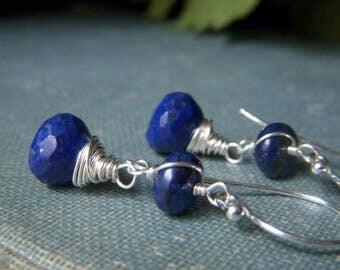 Lapis Onion Earrings Sterling Silver, Lapis Lazuli Wirewrapped Genuine Gemstone, Navy Royal Blue Stone, Dark Blue Onion Briolette