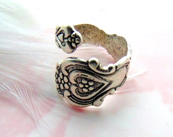SILVER RING - Floral Heart Spoon Ring ~ Antique Silver Ring ~ Adjustable Statement Ring Retro Jewelry (RD-2)