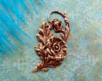 Closeout * ANTIQUE COPPER Victorian Flourish Leaf & Flower Stamping - Jewelry Ornament Finding (CA-3090)