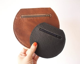 SALE // Circle Change Purse / Leather Coin Purse / Leather Coin Pouch / Round Bag / Coin Purse Wallet / Coin Wallet / Gift Set