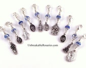 Virgin Mary Rosary Markers Blue Czech Glass by Unbreakable Rosaries Lourdes, Guadalupe, Sorrows, Fatima, Perpetual Help, Untier of Knots