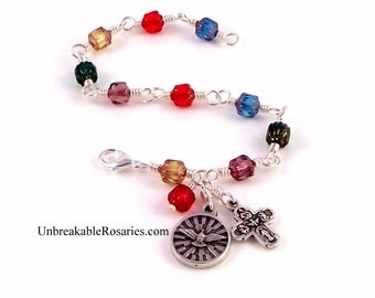 Holy Spirit Rosary Bracelet In Rainbow Cathedral Glass Beads With 4 Way Cross by Unbreakable Rosaries