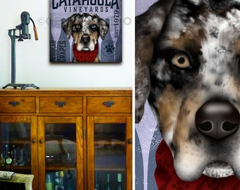 Catahoula Leopard Dog Wine Winery dog illustration graphic art on gallery wrapped canvas by stephen fowler