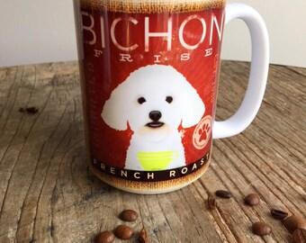Bichon Frise dog coffee mug graphic art MUG 15 oz  ceramic coffee mug