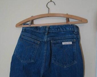 High Waist Vintage Calvin Klein 80s blue jeans 80s straight leg high waist 80s jeans Calvin Klein Vintage Blue denim jeans 30 32