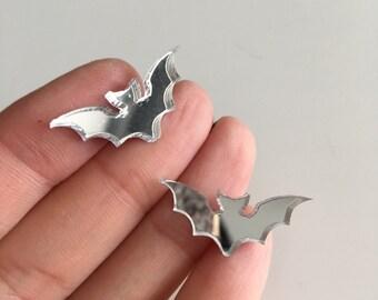 Silver mirror BAT stud earrings laser cut