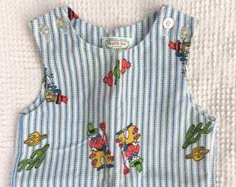 Vintage Health Tex Stantog One Piece Romper for Baby Boy - Size 9 Months - Adorable Vintage Cowboys on Blue and White Ticking Print Fabric