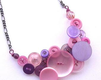 Mothers Day Sale Light Pink and Lilac Lavender Vintage Button Statement Necklace