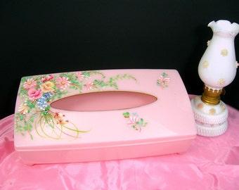 Pink Plastic Tissue Box, Kleenex Holder, Vintage 1950s, Hand-painted Flowers, Bathroom / Bedroom Boudoir Vanity Decor