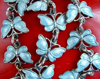 Vintage VB Silver and Enamel Butterfly Bracelet - Blue