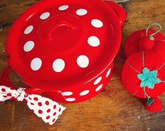 Gone To Pot... Vintage European Red and White Polka Dot Enamelware Enamel Lidded Pot Pan Cooking Kitchenware Farmhouse Home Decor