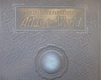 1945 New International Atlas of the World -  WWII - Vintage State and Country Maps - Crafts - Scrapbooking - FREE SHIPPING