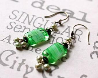 Green Glass Silver Drop Earrings, Green Glass Boho Earrings, Green Glass and Pearl Earrings, Vintage Green Glass Earrings
