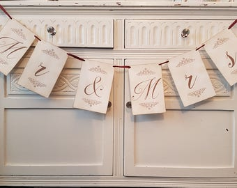 Mr and Mrs Banner, Wedding Banner, Wedding Bunting, Rustic Wedding Ideas, Party Banners, Matching Table Numbers
