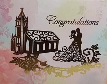 Marriage Congratulations Card, Gold foil