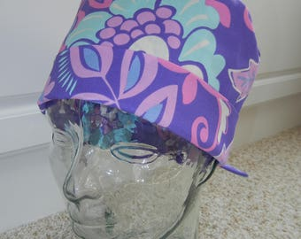 Tie Back Surgical Scrub Hat in Lavender All Over