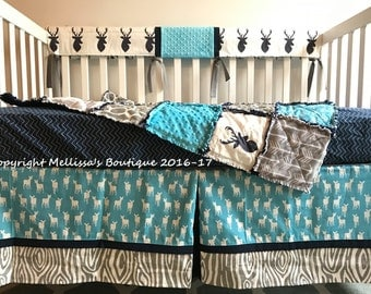 Rustic Deer Woodland MOD Navy Turquoise & Grey Baby Nursery Crib Bedding Set made with Designer Fabrics READY To SHIP