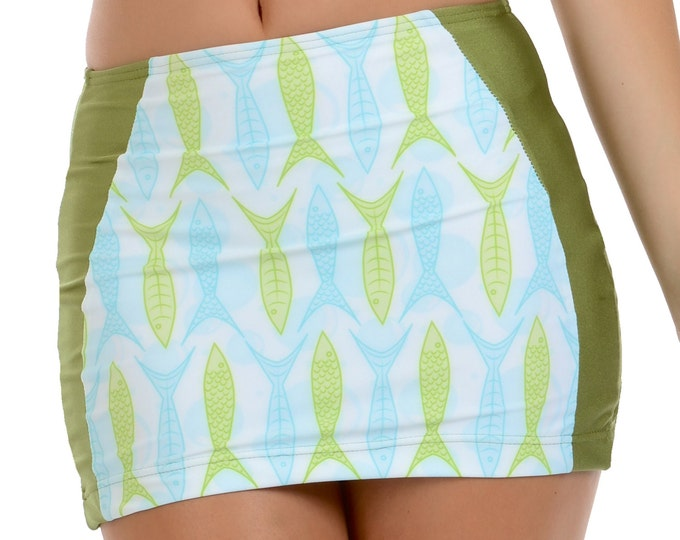 Goldie Swim Skirt in Green Fish Print