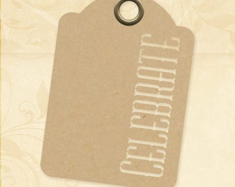 Graphic 45 Staples Tags : Kraft Celebrate Tags, ATC size, set of ten