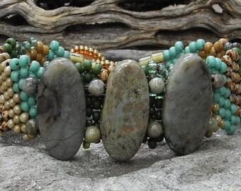 Free Form Peyote Stitch Beaded Bracelet  - Bead Weaving - BOHO - Snake Skin Jasper