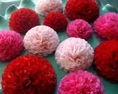Button Mums Tissue Small Paper Flowers Red and Pink Wedding, Bridal Shower, Baby Shower Decor, Engagement Party, Wedding Flowers