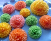 Button Mums Tissue Small Paper Flowers Orange, Green, Yellow Wedding, Bridal Shower, Baby Shower Decor, Engagement Party, Wedding Flowers