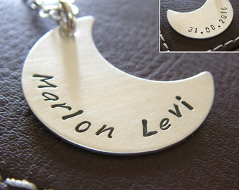 Crescent Moon Charm Necklace - Personalized Sterling Silver Hand Stamped Jewelry - Custom Pendant (Single-Side or Double-Side Stamping)