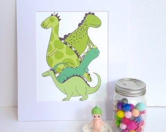 "Illustration Print - Dinosaurs-  A4/8x10"""