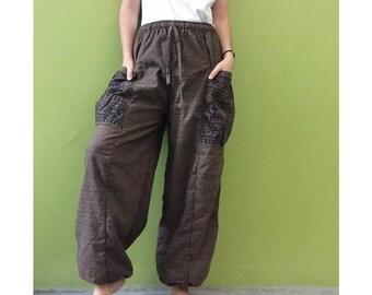 Hippie Gypsy Ohm Cotton Patchwork Pockets Unisex Long Aladdin Yoga Summer Pants S-L (OH 3)