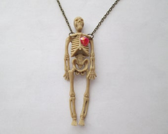 Skeleton with Red Heart Necklace