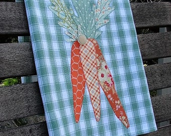 Carrot Kitchen Towel | Tea Towel | Primitive Appliqued Carrots | Vintage Button | Spring Carrots Dish Towel | Green White Cotton Towel