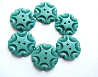 6 Vintage flowers buttons plastic 20mm, unique blue green, RARE