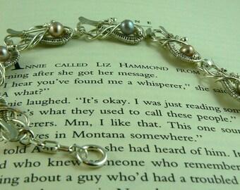 Intricate Wire Woven Blush Pearl Bracelet