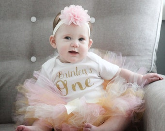 First Birthday Outfit Girl 1st Birthday Girl Outfit Cake Smash Outfit Girl Personalized Birthday Dress